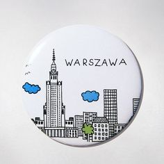 Badge - White Panorama - Souvenir from Warsaw. Fits perfectly to clothes or handbags. $9 zł.