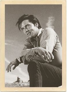 """The gorgeous, world-famous red rock scenery of Sedona, Arizona, can be seen in the background behind the handsome Elvis Presley, in a candid shot from the 1968 movie """"Stay Away Joe. Elvis Presley Young, Elvis And Priscilla, Elvis Presley Photos, King Of My Heart, King Of Hearts, Tupelo Mississippi, Photo Editor Free, King Of Music, Memphis Tennessee"""