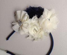 Flower Headband Navy Blue and Ivory flowers with rhinestone tulle Flower Mesh Flower - flower girl- baby headband teen headband
