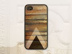 Wood black triangle cell phone case for iPhone 4 4s, 5 5s, and Galaxy S3 by LilStinkerDesign, $17.99+ (One of most popular designs for guys)