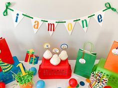 Let's Have a Ball Birthday Party Decorations*Primary Colors Birthday*Colorful Birthday Party*Rainbow Birthday Decorations*I AM One banner
