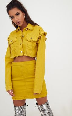 Yellow Ruffle Cropped Denim JacketAdd a pop of colour to your wardrobe this season girl with this...