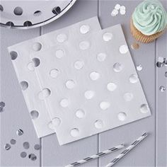 Pick & Mix Silver Polka Dot Napkins - 33cm