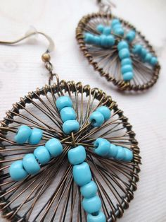 Round Earrings- Blue and Copper Wire Earrings, Wire Wrapped, Wire Jewelry, Beadwork Round Earrings, Wire Earrings, Wire Jewelry, Drop Earrings, Blue And Copper, Copper Wire, Gta, Blue Yellow, Beadwork