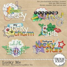 Lucky Me Digital Scrapbooking Wordart If you are lucky in love, then check out this digital scrapbooking collection from Trixie Scraps! With a focus on luck portrayed with lots of hearts and four leaf clovers (made from hearts!), this collection will have you scrapping gorgeous layouts of the guys and gals you love most in no time flat.