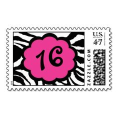 Pink and Black Zebra Sweet Sixteen Postage