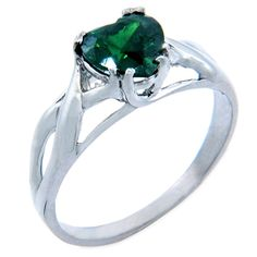 Sterling Silver Solitaire Green CZ Celtic Knot Band Infinity Heart Ring >>> Startling review available here  : Jewelry Rings