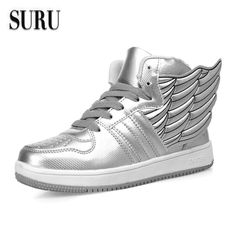 SURU Sapatos Casuais Asas Mulheres Apartamentos Senhoras Calçado Lace Up Sapatos de Prata Preto Branco, tamanho 35-40 H777