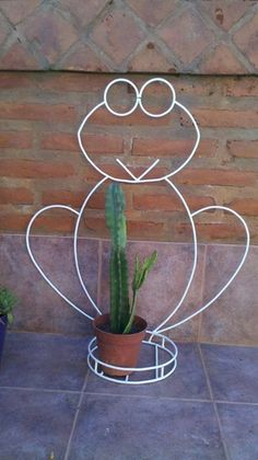 Sapito en hierro para Nere Wire Crafts, Metal Crafts, Iron Plant, Iron Furniture, Iron Decor, Welding Art, Metal Projects, Plant Holders, Wire Art