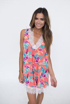 dc25b3bd3af738 Coral Floral White Lace Trim Dress - Dottie Couture Boutique
