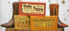 Old General Store Signs   Vintage General Store Candy Box Block - Signs & Ornaments - Home Decor