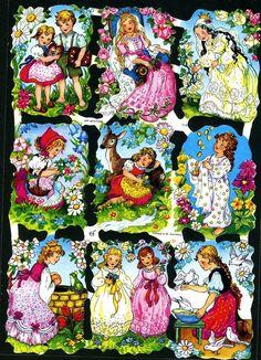 # GLANZBILDER # EF 7142 , 9 tolle Märchenbilder, 50er Jahre,Original v. EAS | eBay