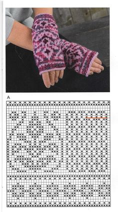 Knitted Mittens Pattern, Fair Isle Knitting Patterns, Knit Mittens, Knitted Gloves, Knitting Socks, Hand Knitting, Fingerless Mittens, Wrist Warmers, Double Knitting