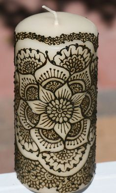 Henna Candle with decorative Mandala design henna by RedwoodHenna, $28.00