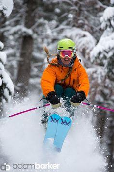Sierra rocks the hidden power stashes at Deer Valley, Utah. Ski like a girl!