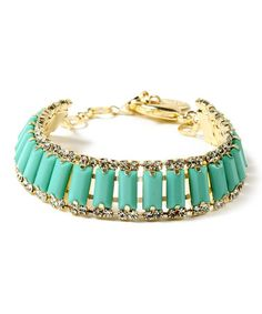 Another great find on #zulily! Turquoise & Gold Mott Street Bracelet #zulilyfinds