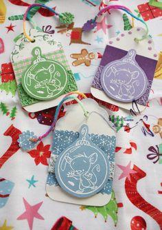 Biglietti di Auguri a forma di Tag con Topini (Dimensioni: 5.8x10 cm)  http://it.dawanda.com/product/68553763-3-Biglietti-Tag-per-regali-di-Natale