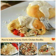 Creamy garlic chicken bundles