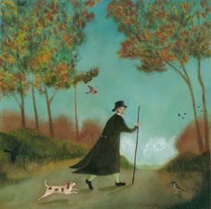 "Original Oil Painting - ""John Clare on the Road from Helpstone to Stamford, Late September, Original Artwork, Original Paintings, Oil On Canvas, Digital Prints, Fine Art Prints, The Originals, Illustrations, Animals, Poster"