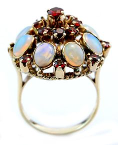 Unique Opal & Garnet Cluster Cocktail Princess Ring in 12K Yellow Gold Size 7