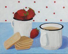 Coffee Break Coffee Cups Strawberries Biscuits Original by Catsupo. Repinned by http://www.elleryadamsmysteries.com