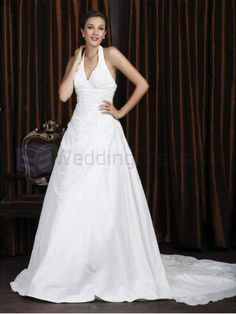 A-line Halter Satin Taffeta Chapel Train Wedding Dress with Beading