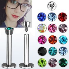 "Flat Head Monroe Labret Various Sizes and Colors. These monroe labrets come in a variety of sizes and colors. Pick and choose one or more to add a splash of color to your monroe piercing. 11mm 7/16"" (X-large). 