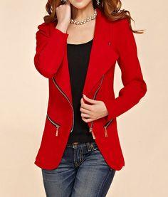 Stylish Turn-Down Collar Solid Color Zip Embellished Long Sleeve Blazer For Women, BLACK, L in Blazers | DressLily.com