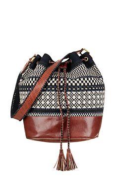 Sac seau porté épaule cuir et coton Tomesha Marine Sessun sur MonShowroom.com