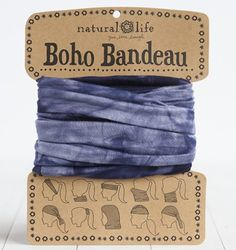Boho Bandeau, Navy Tie Dye