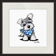 """Schnauzer In Dots"" by Kim Niles, Oak Harbor // Miniature Schnauzer dog art by KiniArt Artist, Kim Niles. KiniArt - All Rights Reserved. // Imagekind.com -- Buy stunning fine art prints, framed prints and canvas prints directly from independent working artists and photographers."