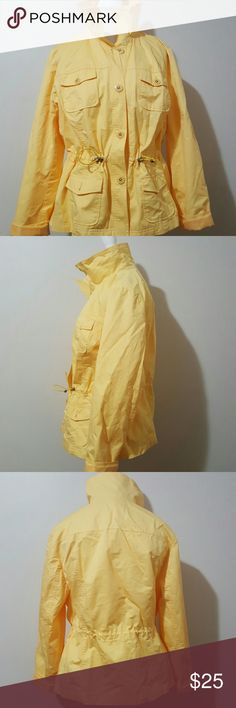 STUDIO WORKS BRIGHT YELLOW SPRING COAT!!!! STUDIO WORKS BRIGHT YELLOW SPRING COAT  GENTLY WORN  DRAWSTRING  TWO UPPER POCKETS  TWO LOWER POXKETS FULLY LINED STUDIO WORKS Jackets & Coats