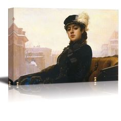 "Amazon.com: Portrait of an Unknown Woman by Ivan Kramskoy - Canvas Wall Art Famous Fine Art Reproduction| World Famous Painting Replica on Wrapped Canvas Print Ready to Hang - 24"" x 36"": Posters & Prints"