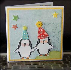 Penguin Birthday Card using the penguin stamp from Stamps by Judith, and party hat stickers.