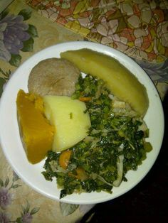 Callaloo w/boil dumpling, pumpkin, yam & breadfruit