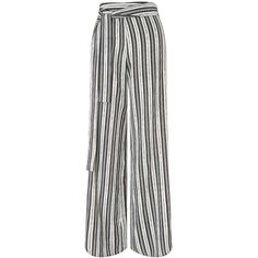 Miss Selfridge Mono Stripe Wide Leg Trouser ($61) ❤ liked on Polyvore featuring pants, assorted, striped trousers, zipper pants, white zipper pants, wide-leg pants and white pants