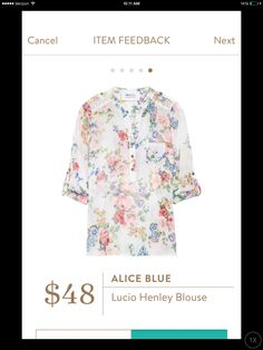 I just searched for this after seeing on Facebook & realized I have the black version! But love in white too or similar!Alice Blue Lucio Henley Blouse