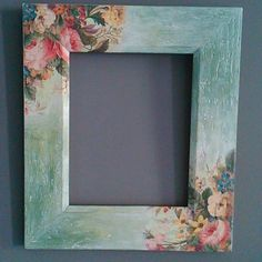 Diy Crafts To Do At Home, Easy Diy Crafts, Picture Frame Decor, Wood Picture Frames, Decoupage Box, Decoupage Vintage, Frame Crafts, Diy Frame, Diy Painting