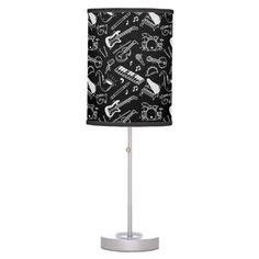 Shop Black & White Instruments Pattern Table Lamp created by ManCavePortal. Decorative Lamps, Linen Lamp Shades, Base Trim, Incandescent Light Bulb, Black Lamps, Trim Color, Rice Paper, White Patterns, Portal