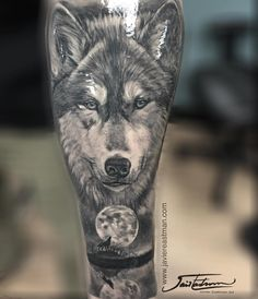 Healed!!! About to add a little more to his project!! #wolf #wolftattoo  #bnginksociety #bngtattoo