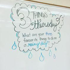 Rain,rain, go away... Three things I like to do when the skies are grey... ☁️#miss5thswhiteboard #iteach7th #iteachtoo #teachersofinstagram #teachersfollowteachers
