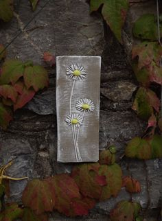 Rustic clay wall art, plaque, imprint of fresh daisies, natural clay and white colour. by Margesgallery on Etsy