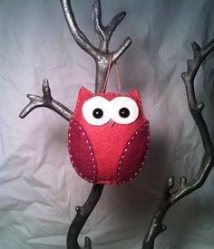 handmade felt owl ornament - plum on Etsy, $7.00