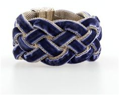 Love the casual denim look of the blue velvet on the Waves Bracelet.  Great design and the weave is super cool.  The bracelet is extremely easy to put on with the magnetic latch and is reversible making a stylish silver metal bracelet when inverted. $24.00
