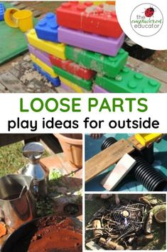 How to use open ended play materials & loose parts outdoors - easy ideas for creating open ended play ideas for outside for family day care and early learning educators. Gross Motor Activities, Outdoor Activities For Kids, Outdoor Learning, Outdoor Play, Toddler Activities, Outdoor Education, Early Education, Outdoor Games, Toddler Games