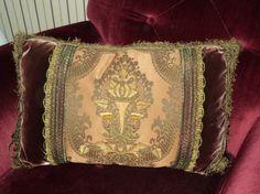 Antique Home Decor Pillow Handmade Silk Velvet Metallic Trim 18th C Applique One of a Kind by DibellaLuce on Etsy https://www.etsy.com/listing/197999315/antique-home-decor-pillow-handmade-silk