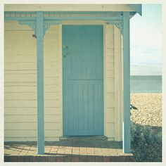 baby blue door on a peaceful little private beach cottage... ahhhh