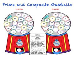 Prime and Composite Gumballs - A Game to Identify Prime and Composite Numbers - Jersey Teacher - TeachersPayTeachers.com
