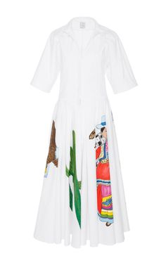This cotton poplin **Stella Jean** shirt dress features a button-up bodice with rolled short sleeves and a full midi length skirt with a hand painted design.