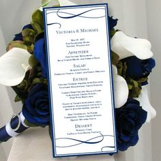 printable wedding menu template its love navy blue editable worddoc
